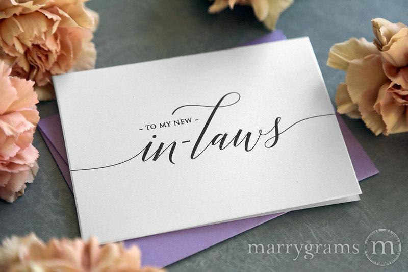 Hochzeit - Wedding Card to Your New Mother and Father in-Law - Inlaws Card Gift, Keepsake Note- Parents of the Bride or Groom Wedding Day Cards - CS13