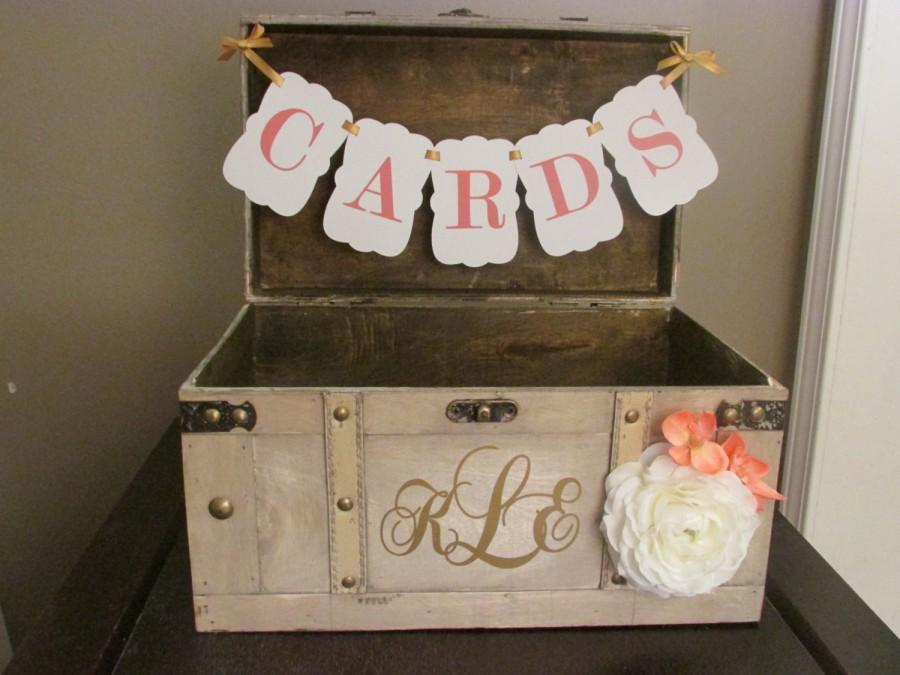 Vintage Wedding Card Box With CARDS BannerCoral And White Rustic – Vintage Wedding Card Box