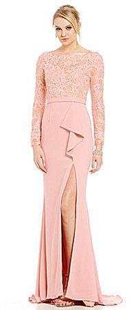 Terani Couture Beaded Lace Bodice Ruffle Peplum Gown 2564201 Weddbook