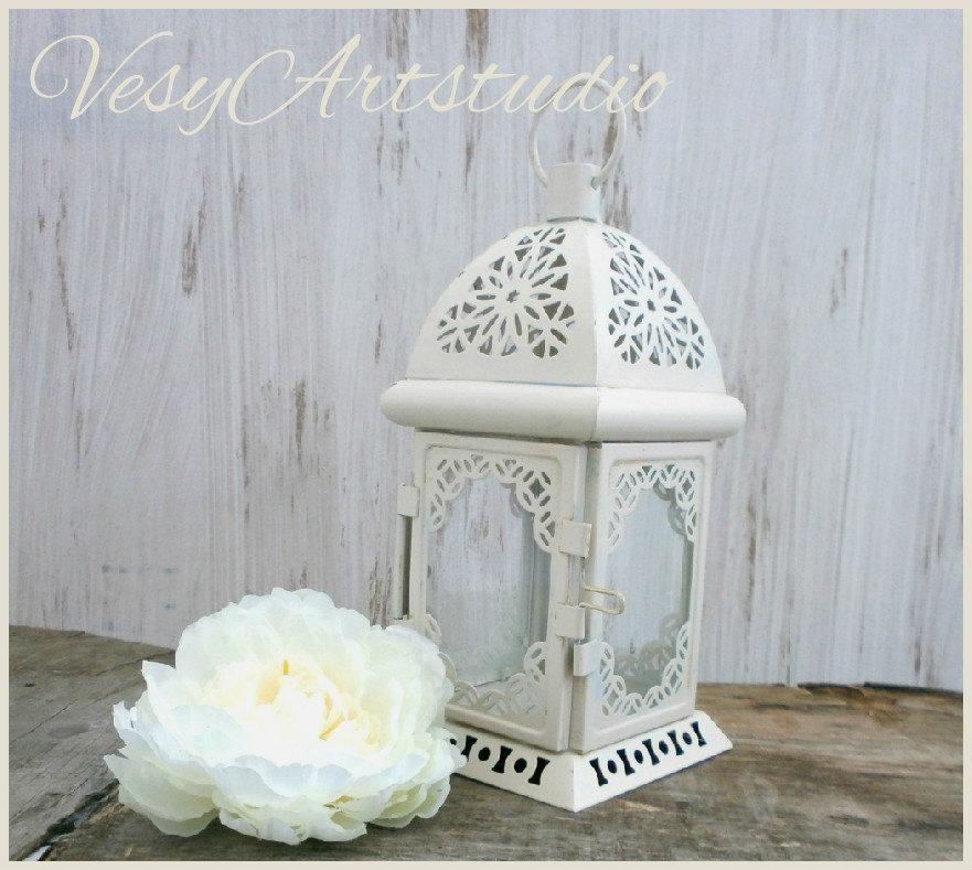 Свадьба - Moroccan Lantern Rustic Lantern Wedding Lantern Metal Candle HolderBeach Wedding Centerpiece Christmas Decoration Nautical Blue and Silver