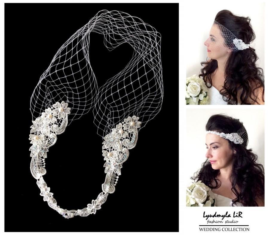 Свадьба - Wedding Bridal Bandeau Birdcage Veil. Lace Swarovski Crystals Pearls. Headband Headpiece Hair piece Accessory French Russian Veiling White