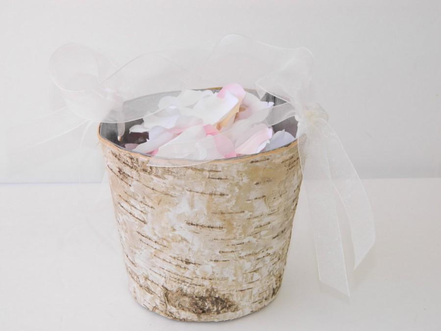 Свадьба - Flower Girl Basket + Birch Flower Girl Basket with Ribbon Handle