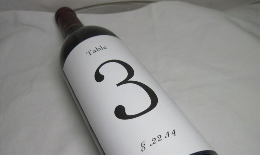 Hochzeit - Custom Wine Label Table Numbers - Personalized Label