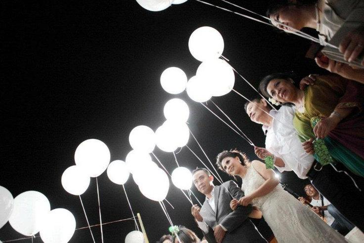 Mariage - White LED lights for Balloons! Wedding Send off! Party Decorations LED lights Balloon Lights