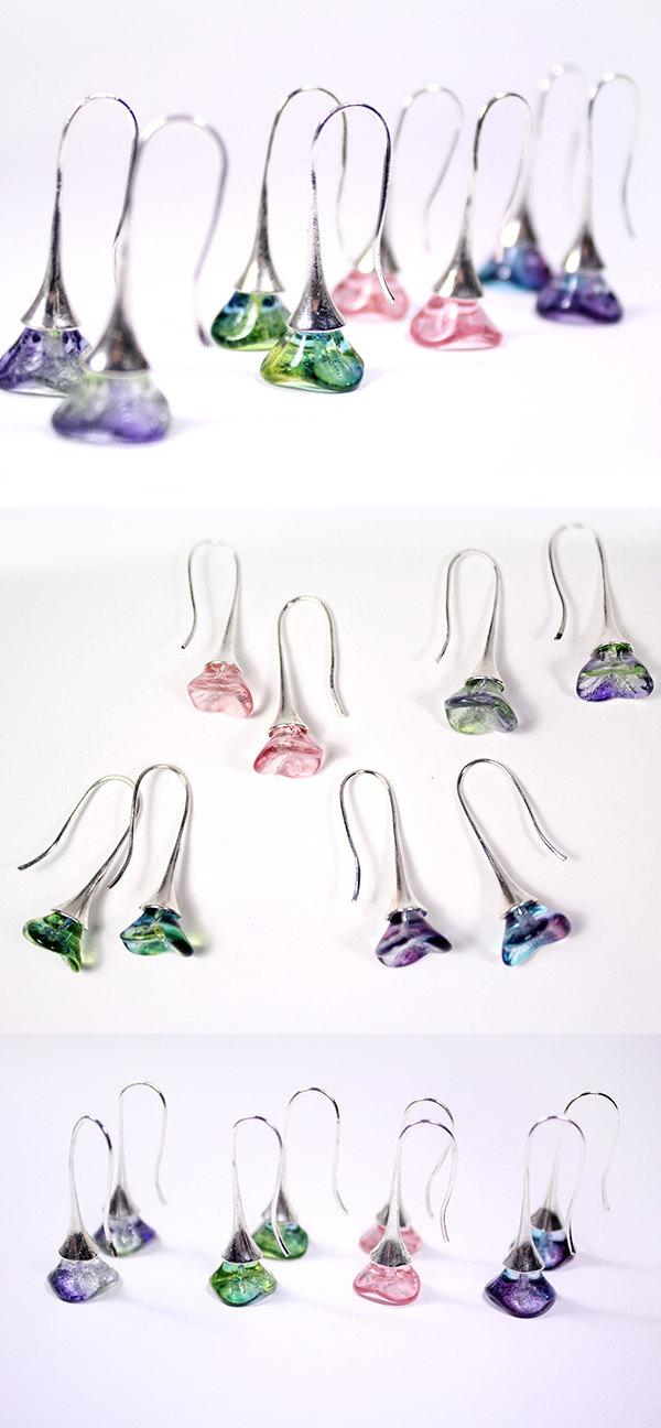 Mariage - gift for her bright drop earrings baby pink tulip bright green jewelry bridesmaid earrings purple earrings wife gifts tulipe violette пя27