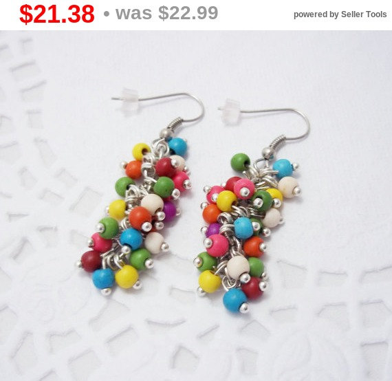 SALE Colored Bunch Chandelier Gemstone Funky Cluster Earrings ...