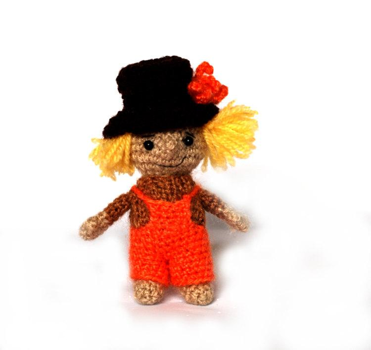 Wedding - crochet SCARECROW, miniature scarecrow doll, amigurumi scarecrow, cute scarecrow plushie, stuffed scarecrow, great gift for Halloween