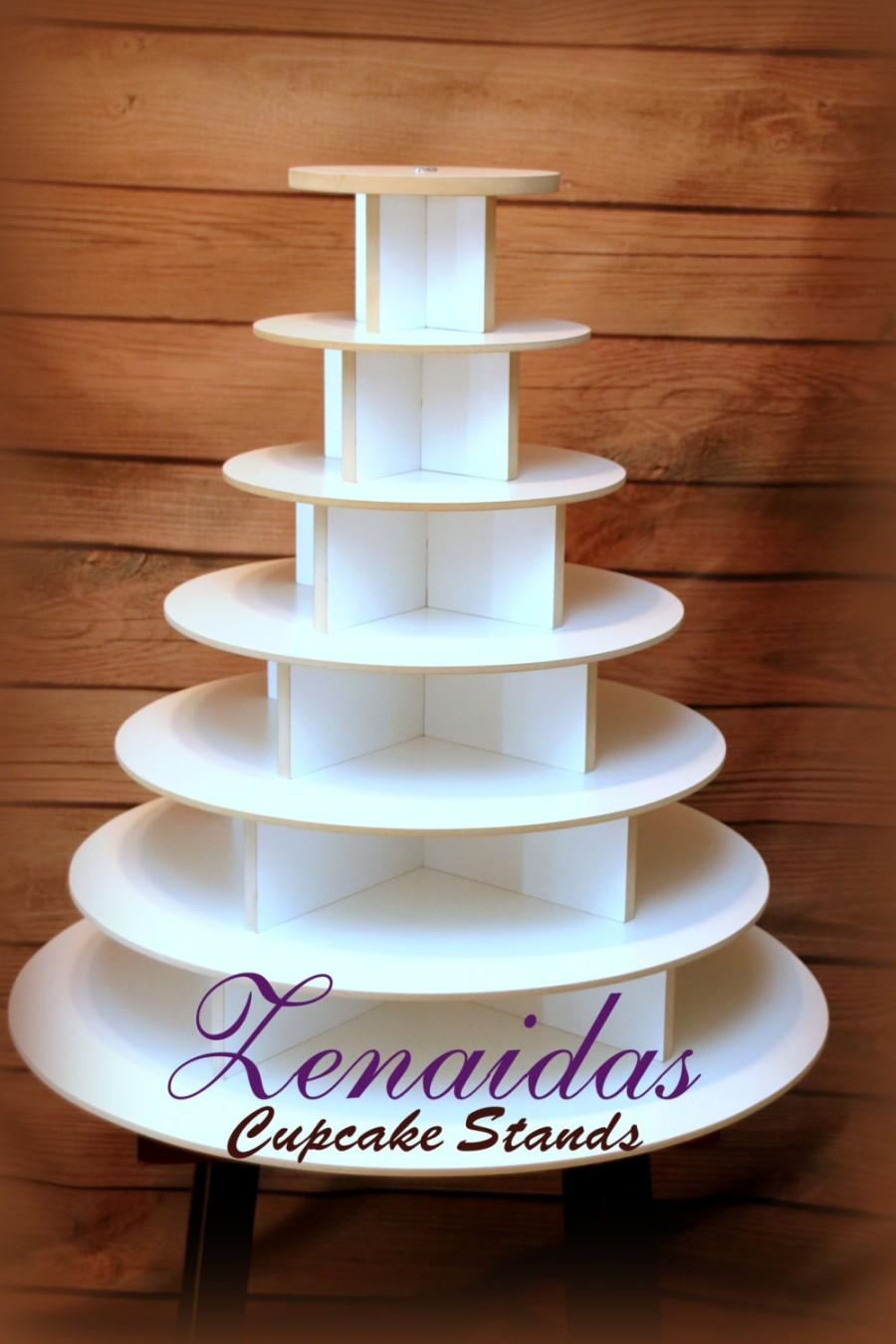 Свадьба - Cupcake Stand  7 Tier Round 200 Cupcakes with Threaded Rod White Melamine Wood Cupcake Tower Display Birthday Wedding Donut Stand