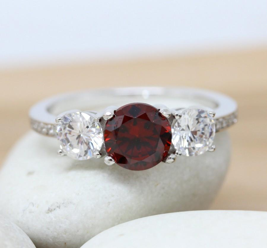 زفاف - Garnet and lab diamond Solid Sterling Silver Trilogy 3 stone Ring - engagement ring - wedding ring