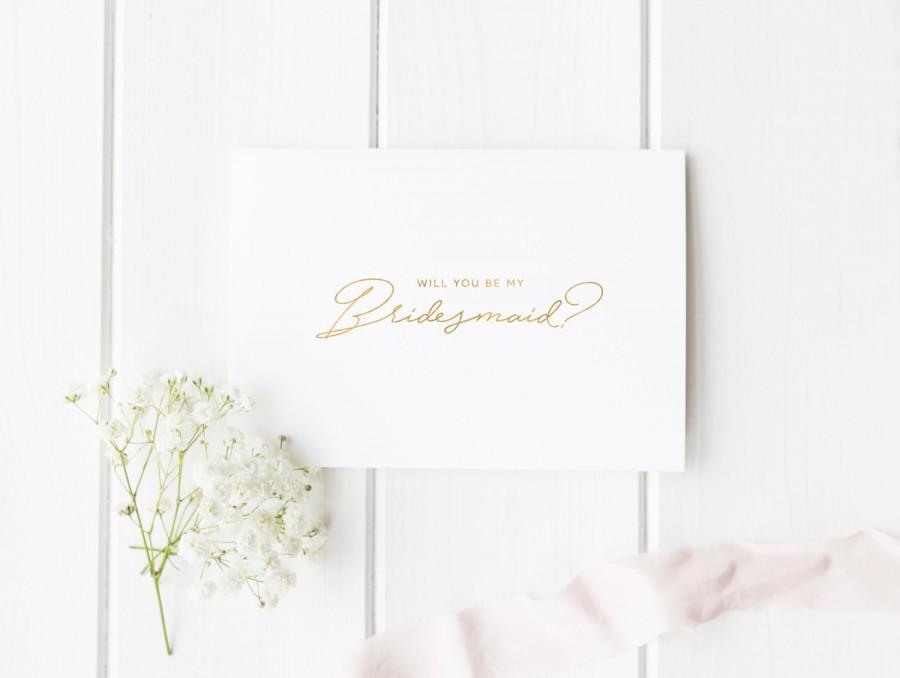 زفاف - Real Gold Foil - Will You Be My Bridesmaid - Maid of Honor Card - Invitation - Wedding - Custom