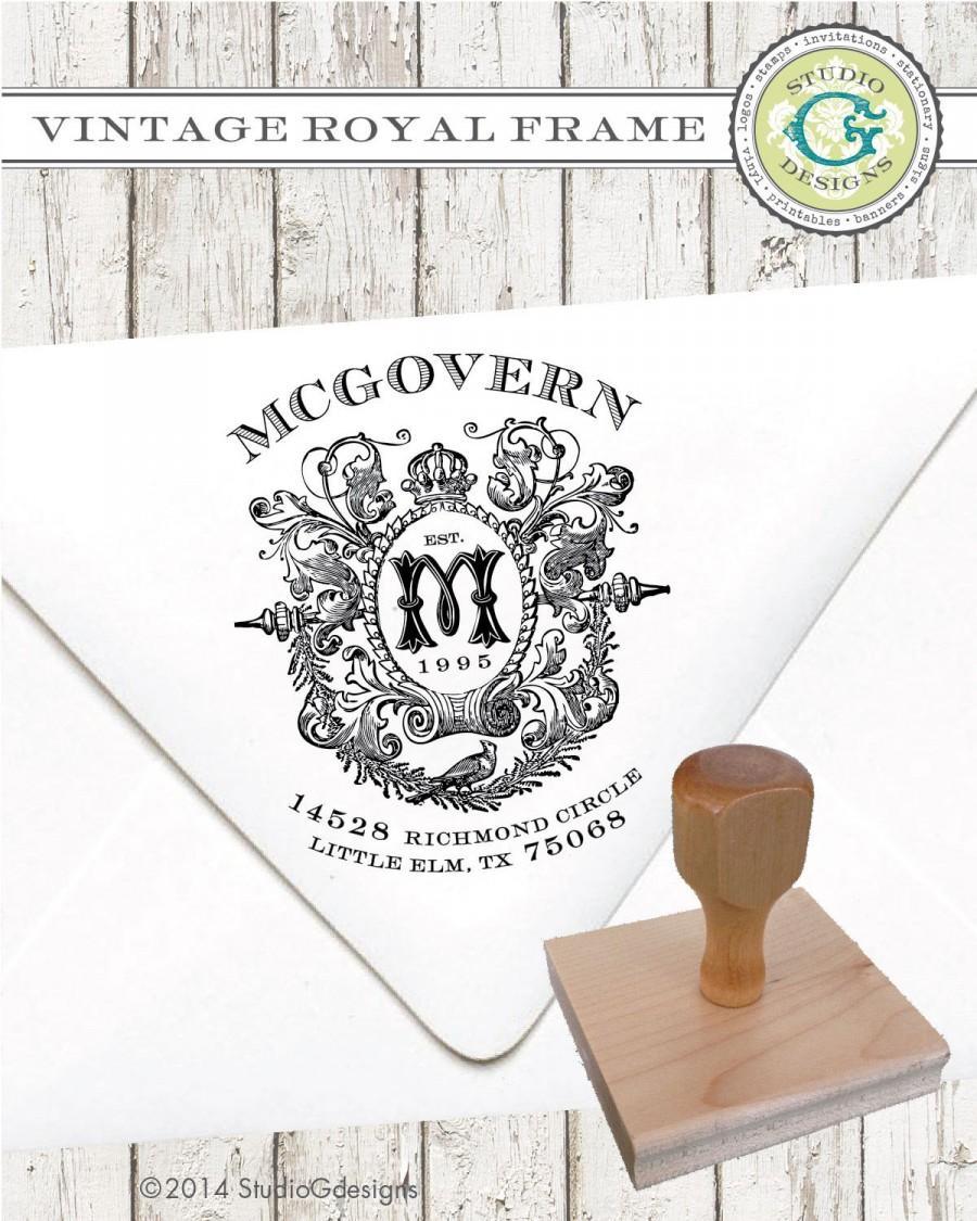 زفاف - Return Address Stamp – 2 x 2.25 in VINTAGE ROYAL FRAME  --  Personalized Custom Wedding Paper Goods