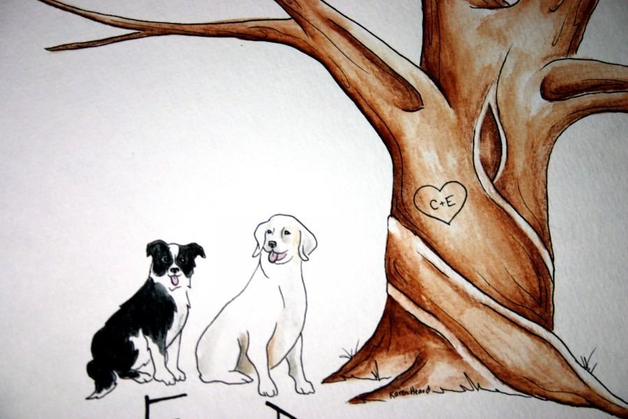 زفاف - Wedding Tree Guest Book add-on . Original thumb print Water Color Illustration- Add your Pet, cat, dog