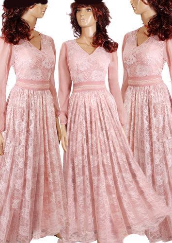Plus Size Maxi Blush Pink Chiffon Lace Bridesmaid Evening