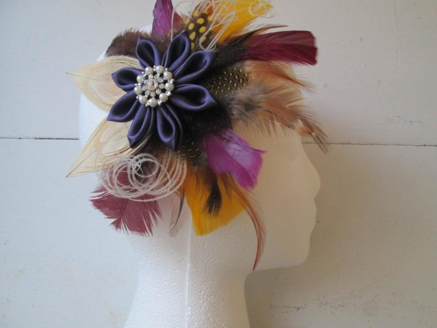Hochzeit - Peacock Bridal Fascinator, Autumn Wedding Head Piece, Rustic Colors- Plum Purple Kanzashi, Birdcage, Champagne, Wine, Berry, Gold, Brown