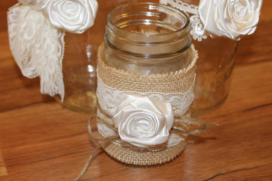 Mariage - Small Flower Mason Jar Decor, Mason Jar Candle Holder, Tea Candle Holder, Rustic Candle Holder, Country Wedding Decor, Rustic Wedding Candle