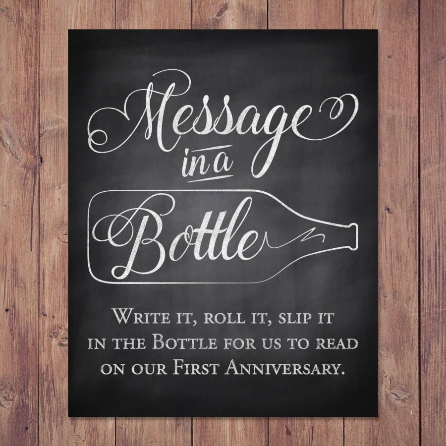 Rustic Wedding Guest Book Sign - Message In A Bottle Anniversary ...