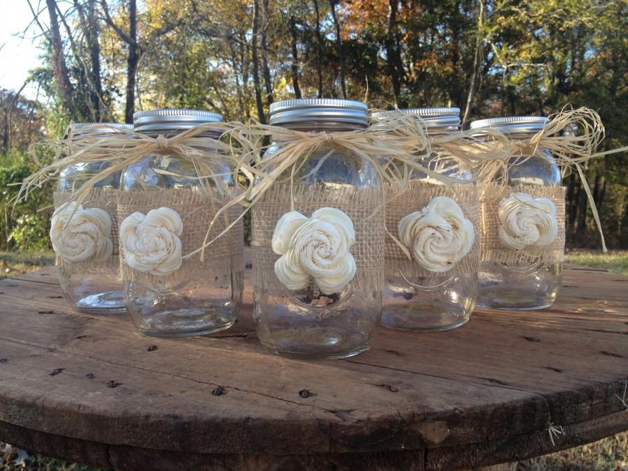 Set Of 5 Shabby Chic Rustic Mason Jars With Sola Flower Wedding Decor Jar Centerpieces