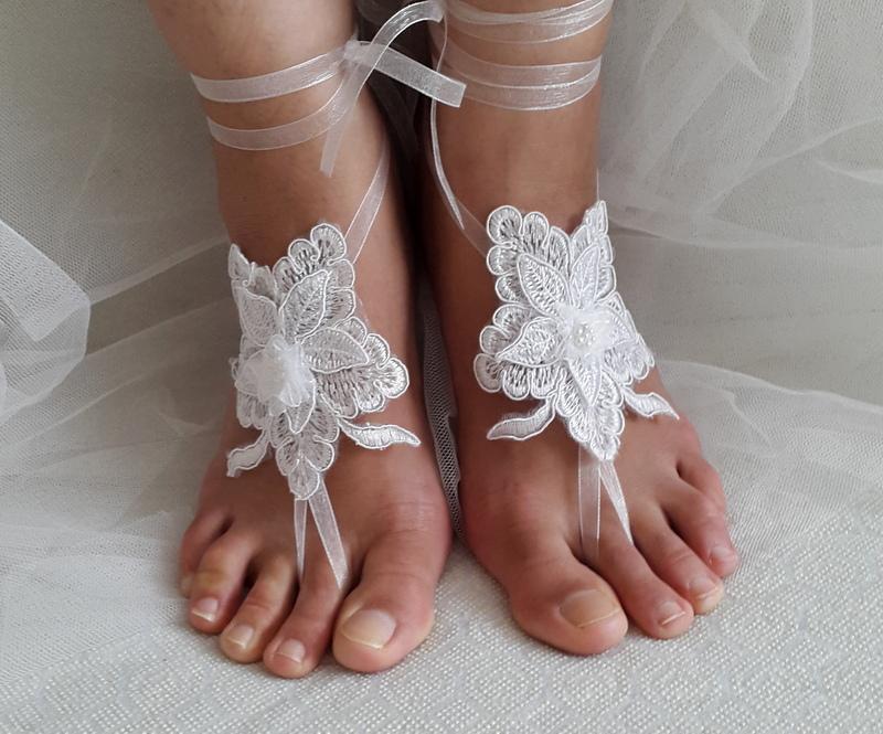 Wedding - white anklet