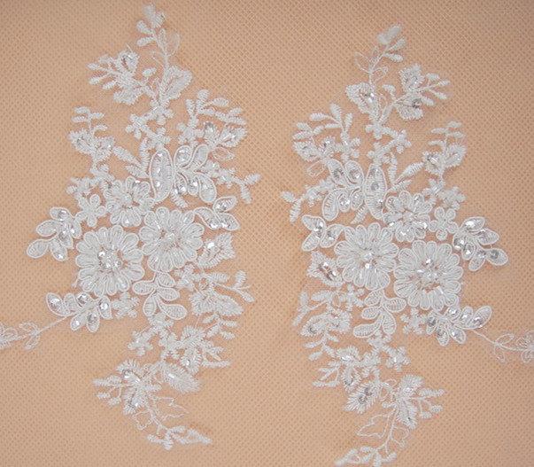 Свадьба - Lace AppliqueTrim, Wedding Lace Applique, Bridal lace Applique, Beaded Wedding Accessory, Floral Lace Applique, Alencon Lace Applique, 2pcs