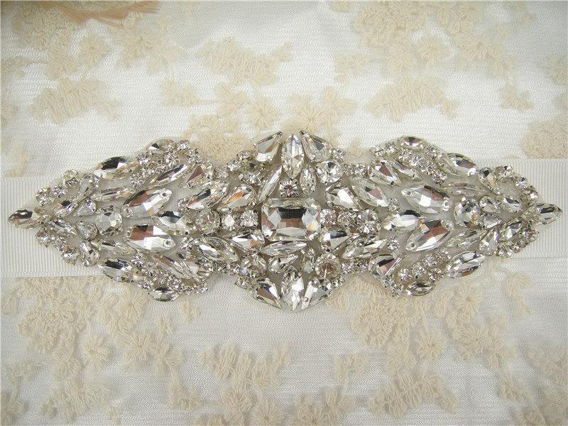 Свадьба - Sale-Rhinestone Applique, Diamante Applique, Crystal Applique for Bridal Sash, Bridal Applique, Wedding Belt Applique, Garters Applique,