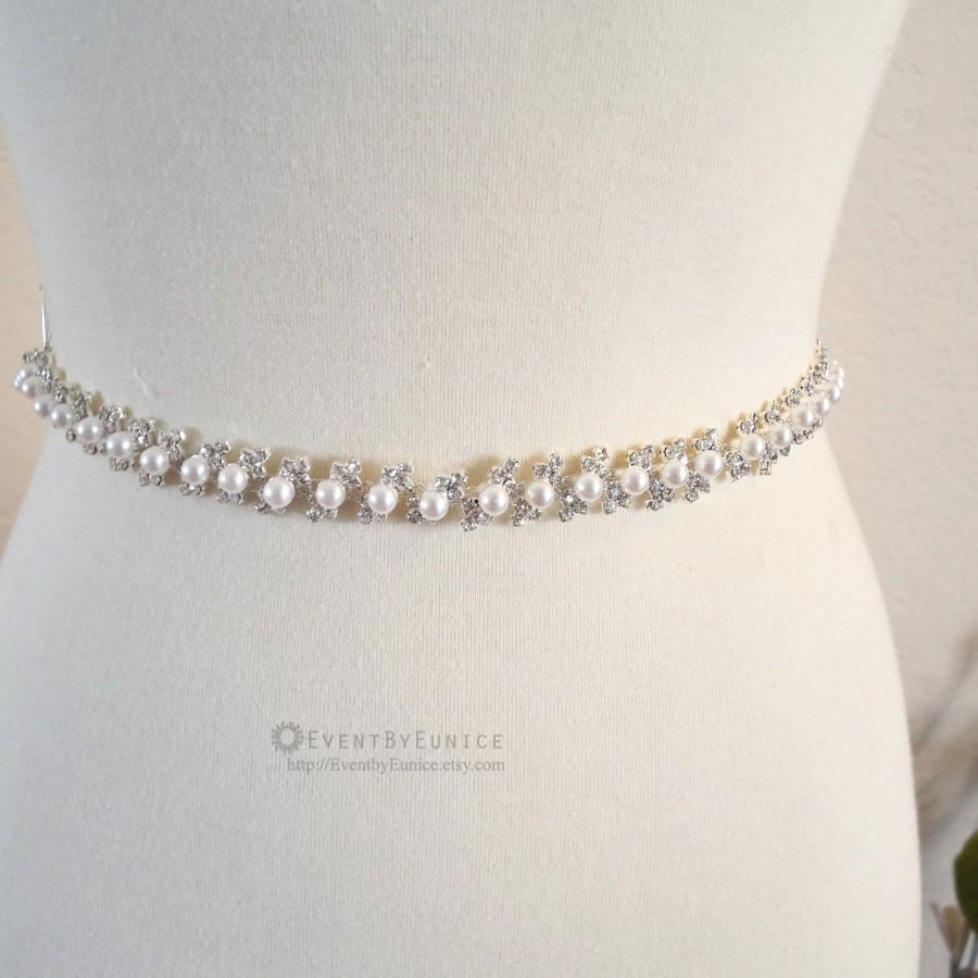 Свадьба - Wedding Crystal and Pearl Belt, Bridal Belt, Wedding Sash, Bridal Sash, Crystal belt, Crystal sash, Bridesmaid Belt,  IRIS