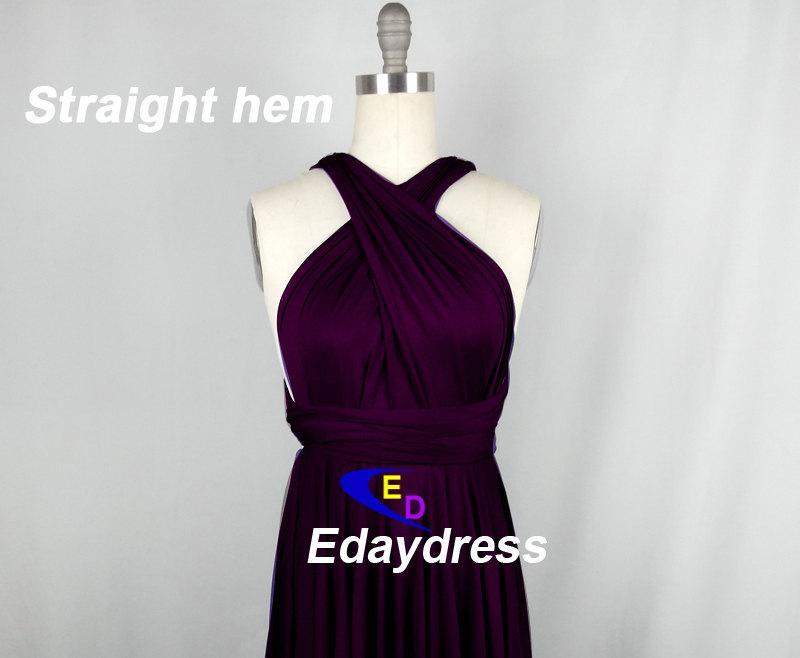 Straight Hem Knee Tea Length Silver Bridesmaid Dress Convertible Grape Purple Infinity