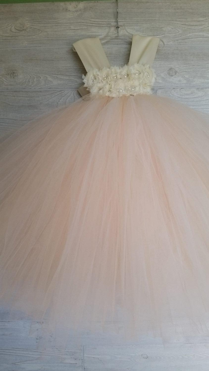 Düğün - Flower girl dress - Tulle flower girl dress - Ivory Dress -Tulle dress-Infant/Toddler -Pageant dress -Princess dress-Champagne flower dress