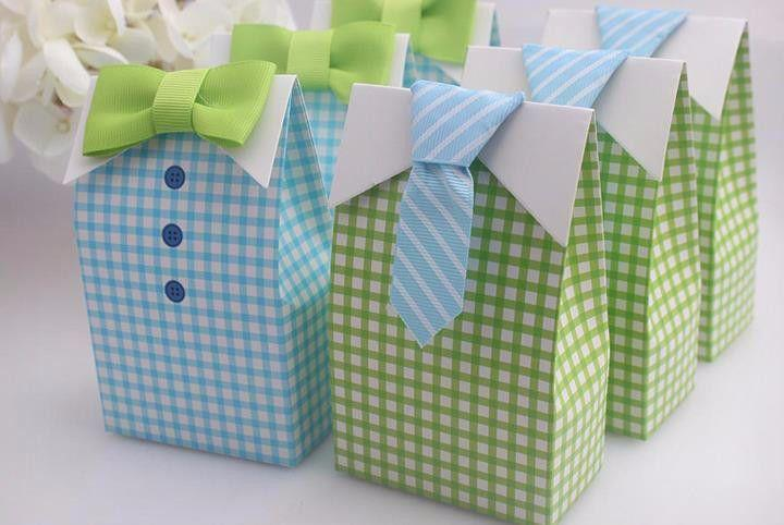 Mariage - 20 Pcs Blue Green Bow Tie Wedding Favors Candy Box Gift Bags
