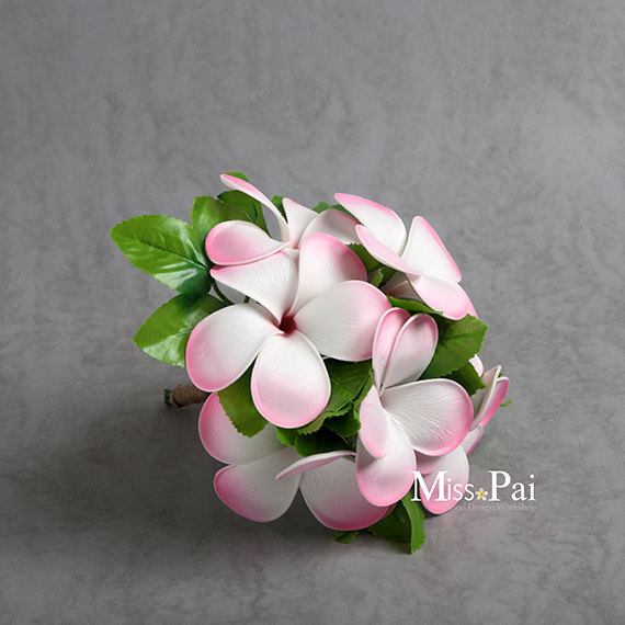 Mariage - Free Shipping Artificial Red Pink Plumeria/frangipani small bosy stem
