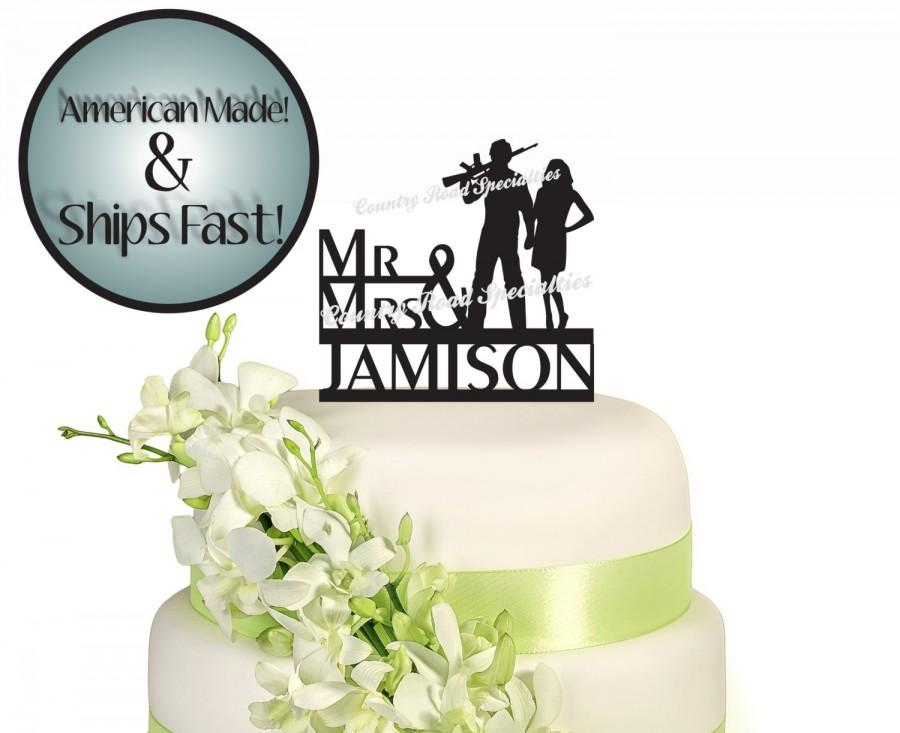 Wedding - Silhouette Couple With Automatic Rifle Surname Wedding Cake Topper