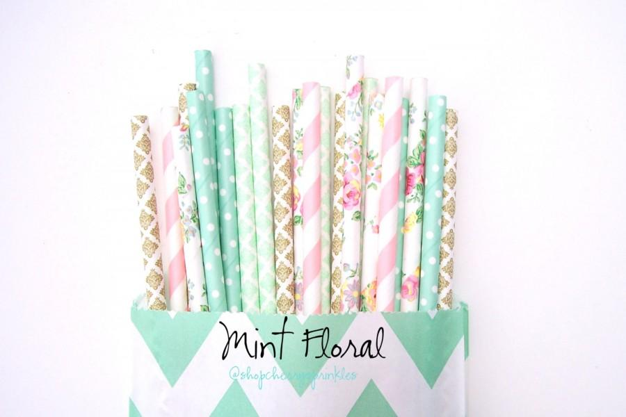 Wedding - Mint Floral -Pink and Mint *Gold Straws -Wedding Decor -Floral Straws -Pink Straws -Pink Straws -Mint Straws -Paper Straws -Baby shower