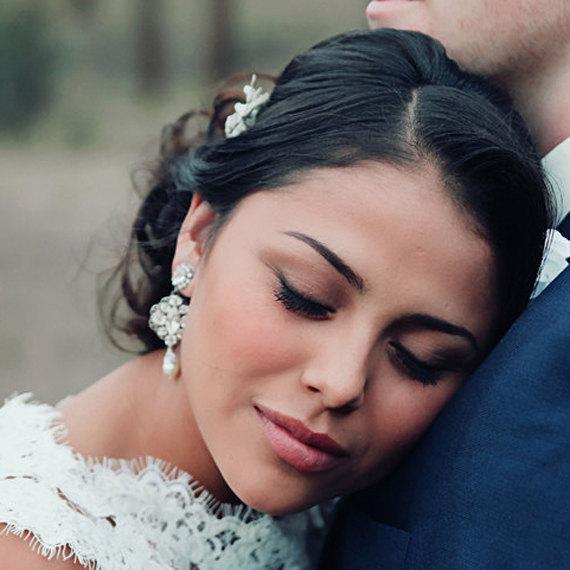 Wedding - Wedding jewelry earrings - bridal earrings - statement wedding earrings - Swarovski crystal - crystal and pearl earrings - Charlie earrings