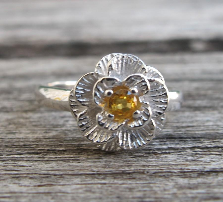 Mariage - Stack Rings- Yellow Sapphire Rings- Promise Ring- Flower Rings- Gemstone Rings- Anniversary Rings- September Ring- Rings for Her