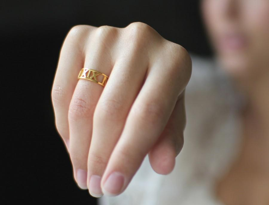 Custom Wedding Bands.20 Off Roman Numerals Ring Personalized Ring Custom