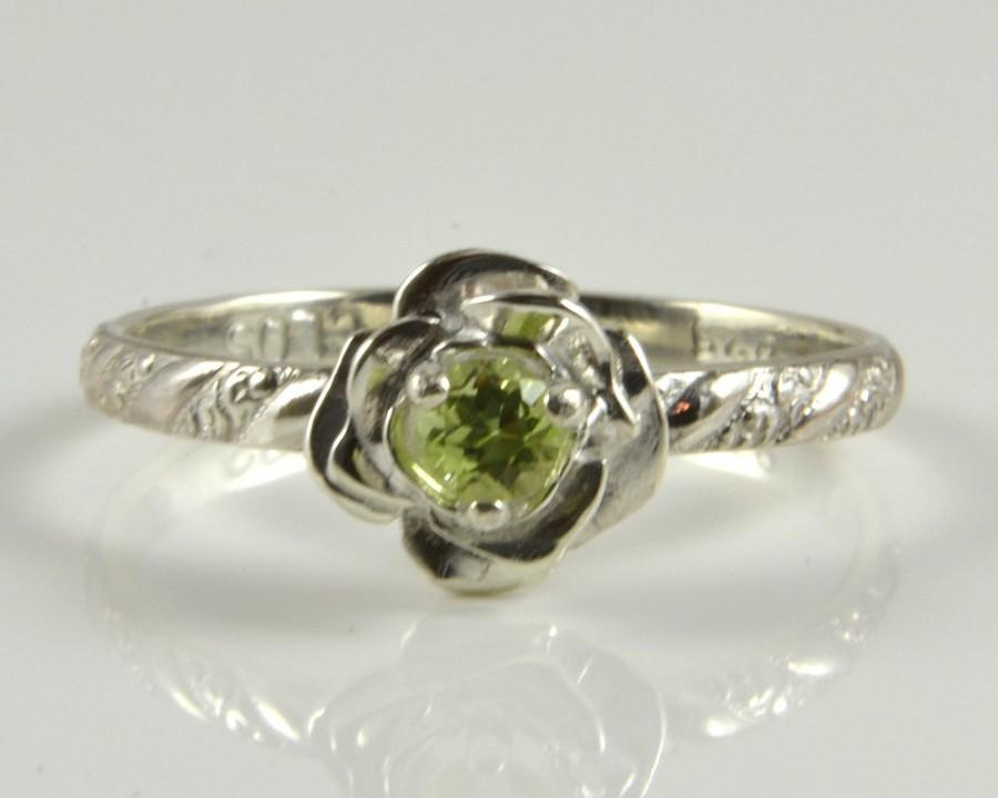 Wedding - Peridot Ring in Sterling Silver, Petite and Cute Rose Flower setting with faceted Peridot and twist/scroll band. Engagement Solitaire Ring