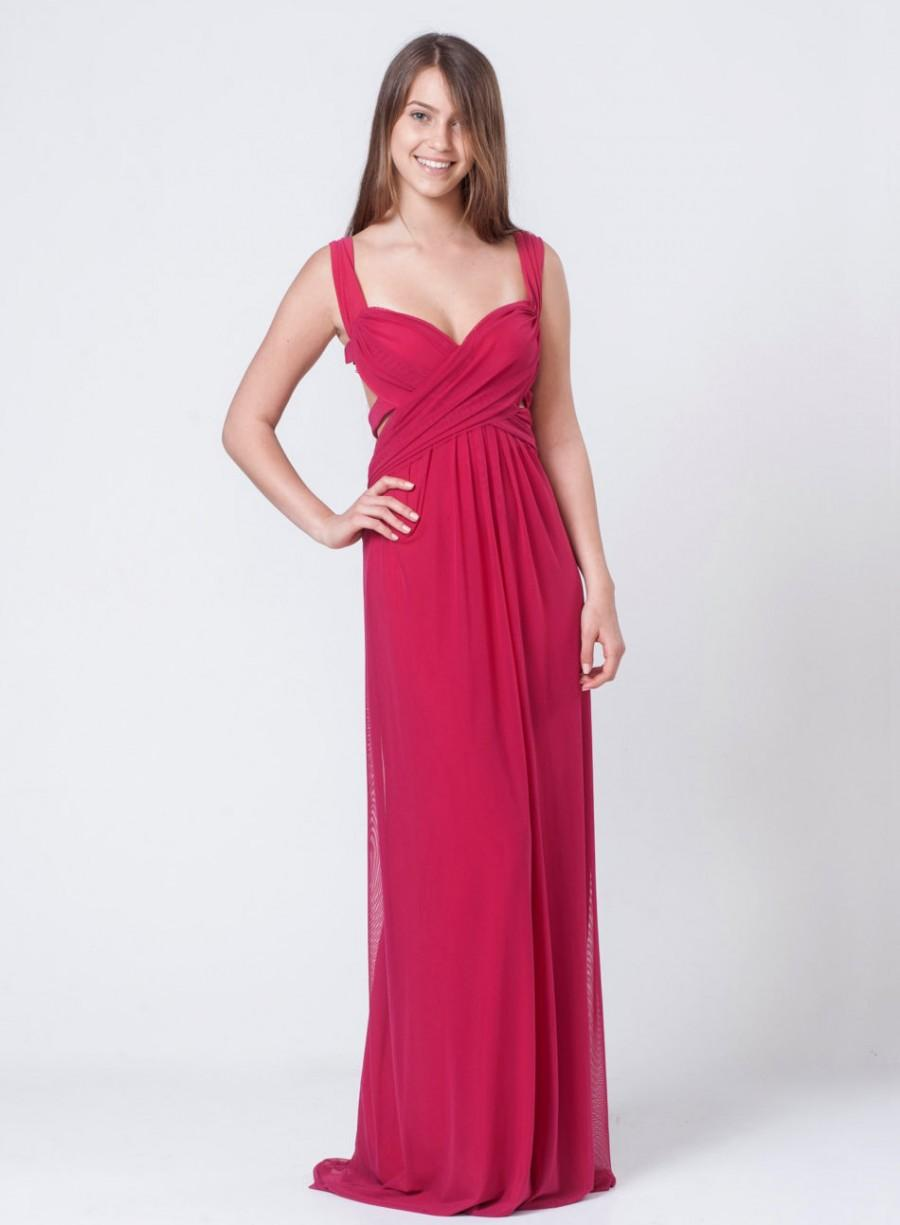 Boda - Fuschia maxi bridesmaid dress - Fuschia open back dress - side slits maxi dress