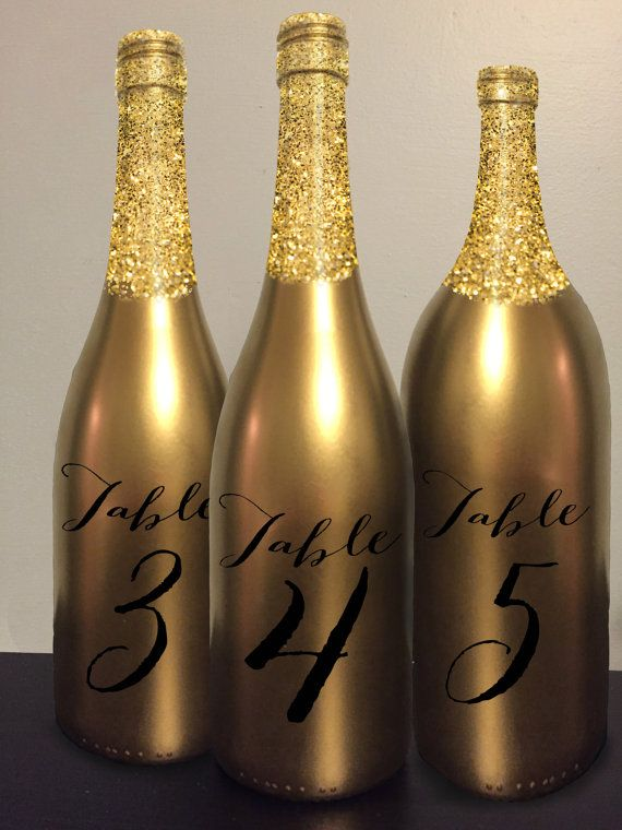 Table Number Wine Bottle Gold Glitter Wedding Centerpiece Reception Decor Decoration Gatsby Art Deco Vintage Chic Elegant New Years