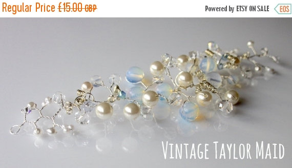 Mariage - ON SALE Moonstone Clear Aurora Borealis Blue Vintage Crystal Beaded Faux Ivory Pearl Silver Plated Boho Hair Vine Swag Bridal Wedding Access