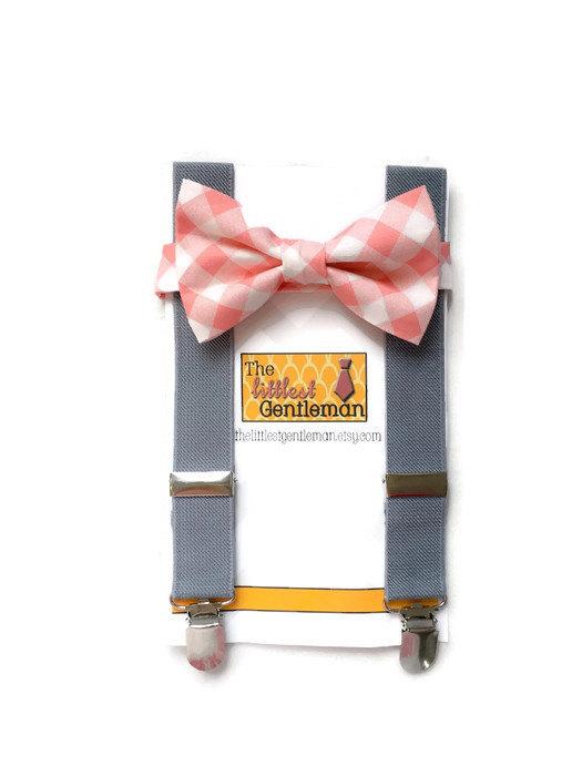 Hochzeit - boy bow tie suspenders set, coral salmon peach bow tie suspenders set, baby boy suspenders, wedding bow tie suspenders set