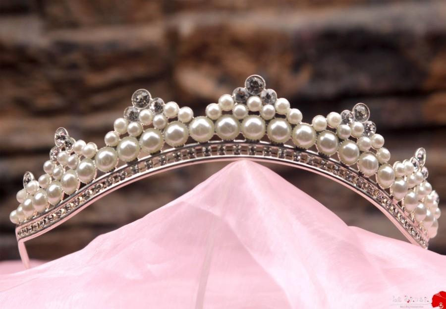 Hochzeit - Unique handmade princess tiara crown , tiaras for wedding , crystal tiara handmade for order inlaid with red SWAROVSKI  Crystals and pearls