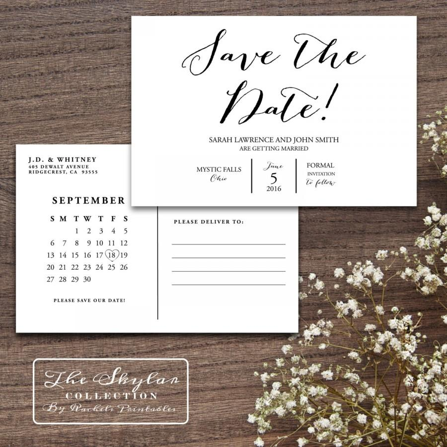 Mariage - Classic Simple Save The Date Printable Postcard - The Skylar Collection
