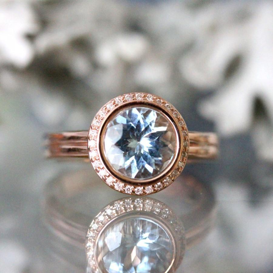 Свадьба - Aquamarine 14K Rose Gold Ring, Aquamarine And Diamond Ring, Engagement Ring, Gemstone Ring, Stacking Ring, Anniversary Ring - Made To Order