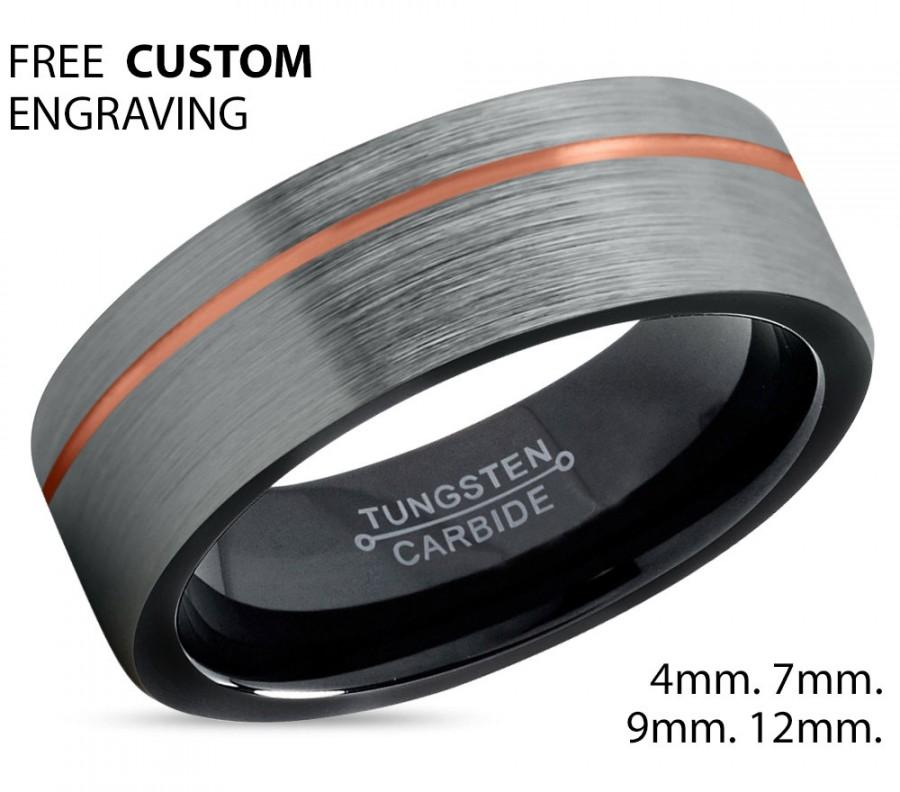 Свадьба - Brushed Silver Black Tungsten Ring Rose Gold Wedding Band Ring Tungsten Carbide 7mm 18K Tungsten Ring Man Male Women Anniversary Matching