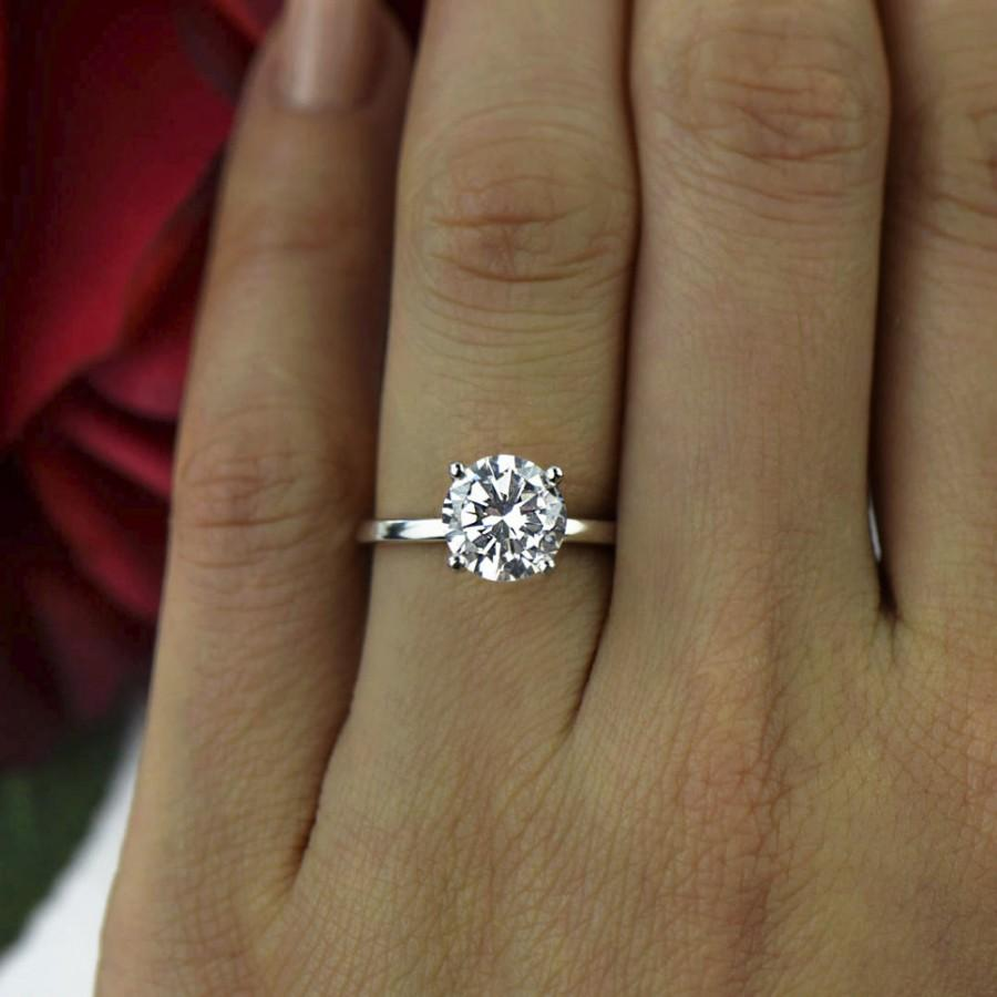 2 Ct Classic Solitaire Engagement Ring Man Made Diamond Simulant 4