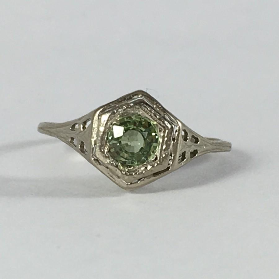 Vintage Spinel Ring. 10k Gold Filigree Setting. Green Spinel. Unique  Engagement Ring. Estate Jewelry. 65th Anniversary. August Birthstone