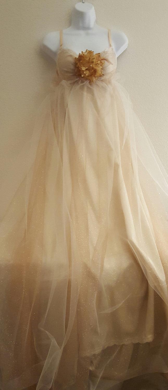 Hochzeit - Champagne Golden Twinkle Goddess Empire Waist  Antique Satin Crystal Tulle Bohemian Bridal Wedding Ballgown Boho Beach Garden Party