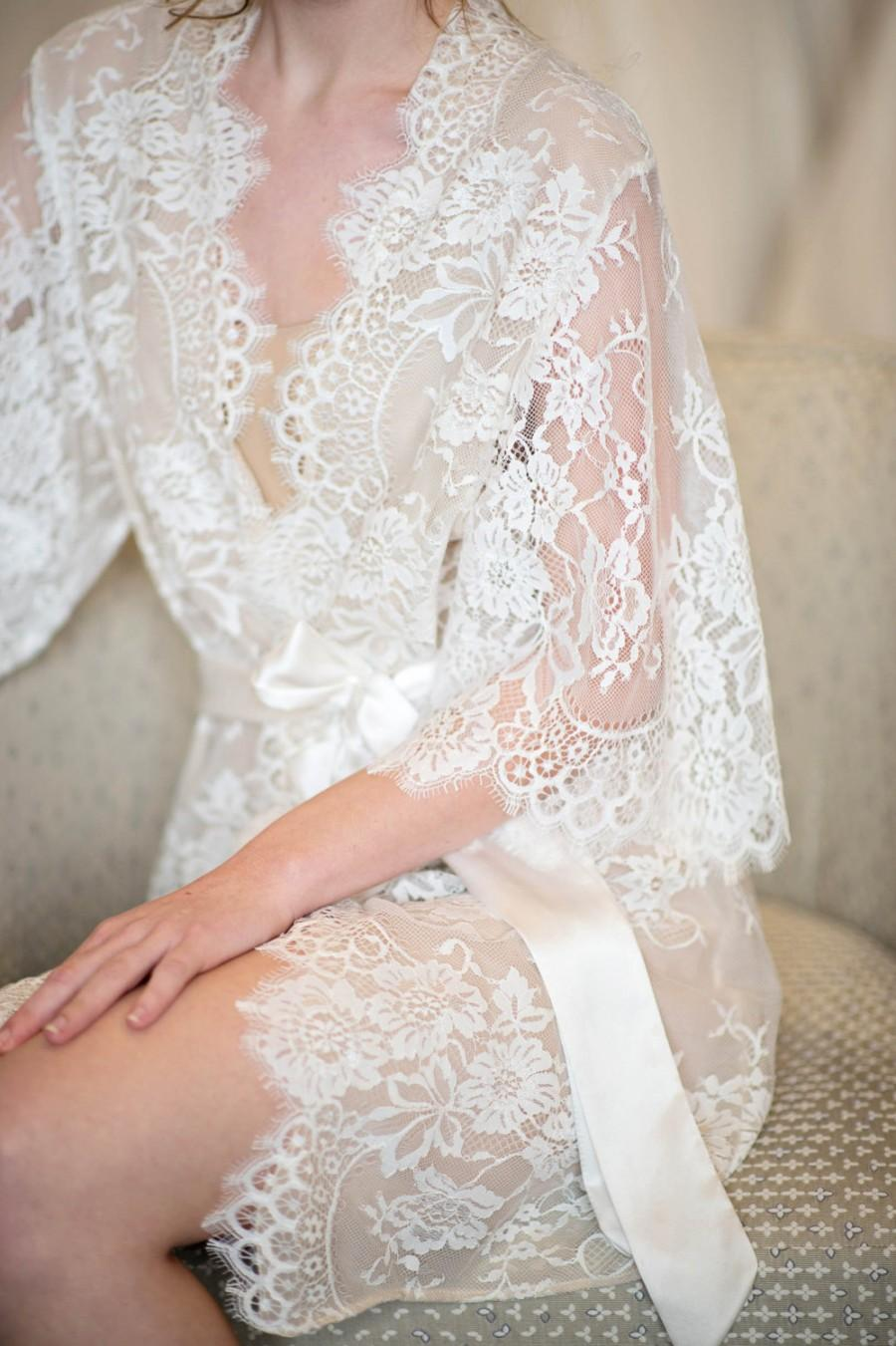 Свадьба - Swan Queen Lace And Silk Bridal Robe Kimono - style 104