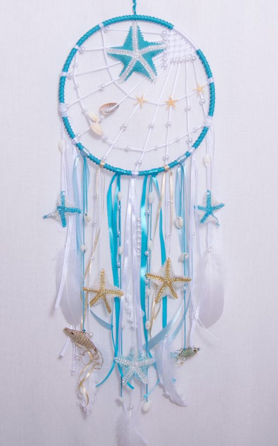 wedding blue sea dream catcher boho dreamcatcher wedding decor wall hanging bedroom mobile feathers bohemian