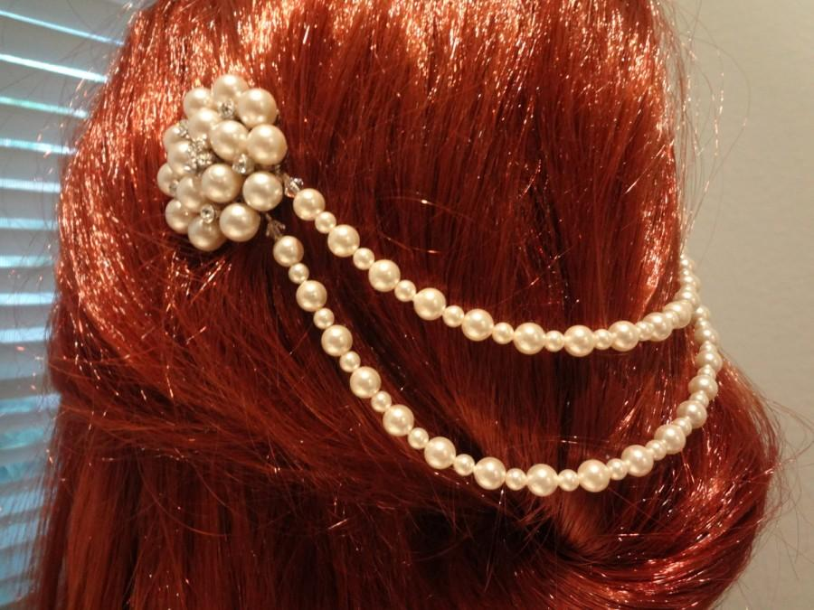 Wedding - Hair drape Vintage Hair Comb Wedding hair accessories Gatsby Style Draping Ivory Pearls and Rhinetone Comb, Bohemian Style