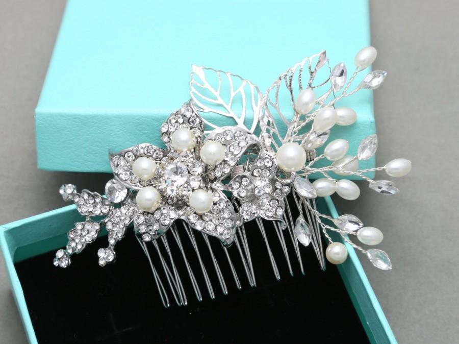 Свадьба - Pearl Comb,Wedding Hair Comb,Bridal Hair Comb,Crystal Hair Comb,Rhinestone Hair Comb,Floral Hair Comb,Leaf Hair Comb,Bride Vintage Hair